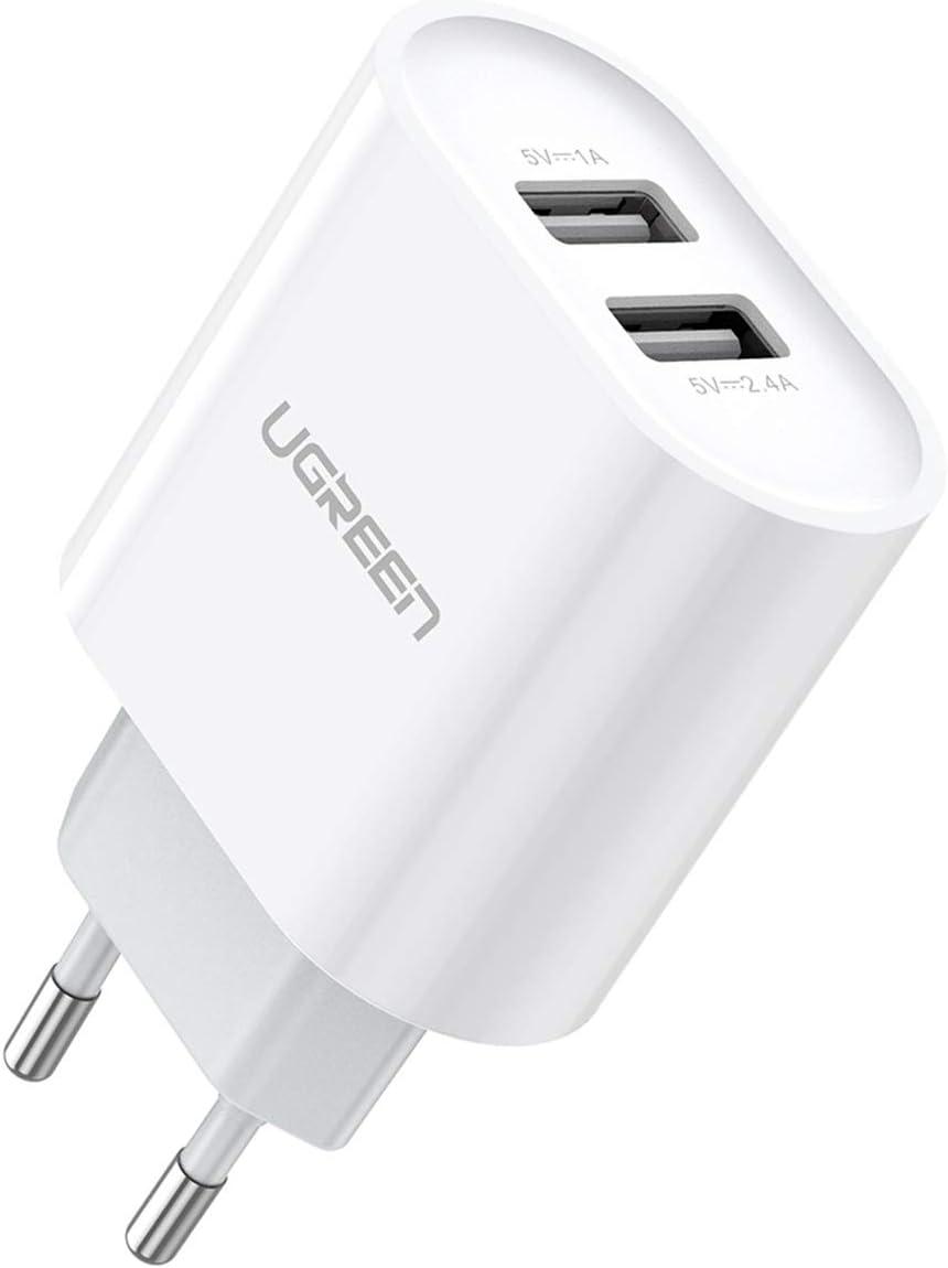 UGREEN 2 Cargador USB de pared 17W 5V 3.4A Cargador USB Enchufe para iPhone XS Max XR X 8 7 6 iPad Pro Mini teléfono inteligente Samsung S10 S9 S8 A50 A8 A6 J6 M20 Huawei P20 Lite Mate 20 Lite - Blanc