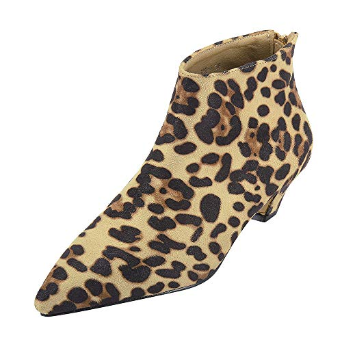 Cenglings Women's Chelsea Boots, Casual Flock Leopard Print Pointed Toe Shoes Low Chunky Ankle Boots Zipper Shoes