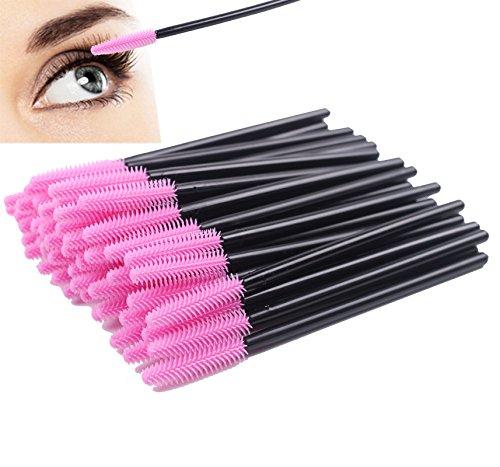 Pack of 100 One-Off Disposable Silicone Eyelash Mascara Brushes Wands Applicator Eyebrow Brush Makeup Tool Kit Set