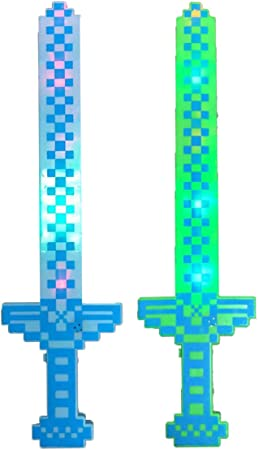 P&F Pack of 2 Pixel Light Up Long Knight Sword with Color Led Flashing