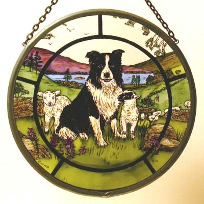 Decorative Hand Painted Stained Glass Window Sun Catcher/Roundel in a Collie Dog and Lambs Design.