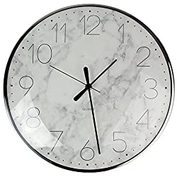 Lucky7 13 Round Wall Clock White Marbling 3D Glass Lens Non-ticking Silent Simple Modern