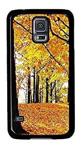Samsung Galaxy S5 Nature Golden Leaves PC Custom Samsung Galaxy S5 Case Cover Black