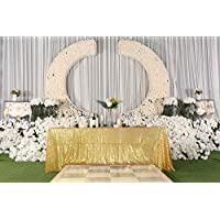 """PartyDelight 60"""" x 120"""" Gold Sequin Tablecloth for Wedding, Baby Shower, Birthday, Banquet, Christmas, and Banquet."""