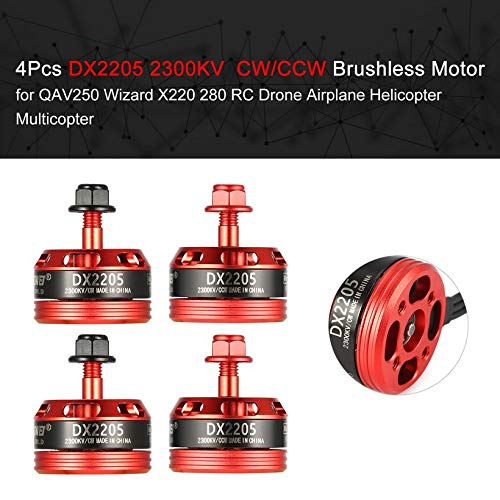 Wikiwand 4Pcs DX2205 2300KV 2-4S CW/CCW Brushless Motor for RC Racing Drone QAV250 280