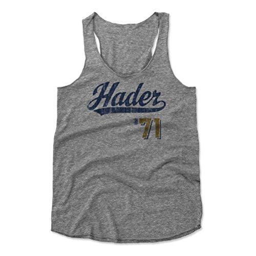 500 LEVEL Josh Hader Women's Tank Top X-Large Heather Gray - Milwaukee Baseball Women's Apparel - Josh Hader Script - Light Brewers Milwaukee Mlb