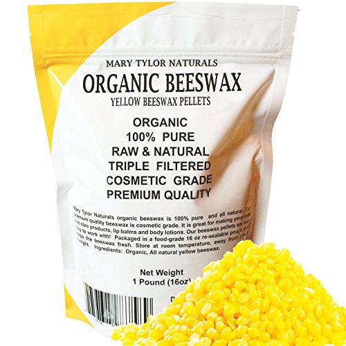 100% Organic Yellow Beeswax Pellets 1lb (16 oz) Premium Quality, Cosmetic Grade, Triple Filtered Bees Wax Pastilles