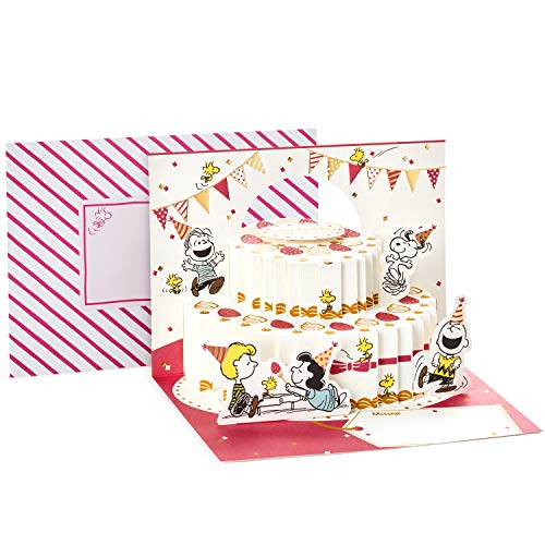 Hallmark Pop Up Peanuts Birthday Card (Peanuts and Snoopy Cake)]()