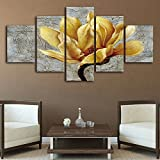 ShuaXin Large 5pcs HD Pictures Gold Orchid Printing on Canvas Flower Oil Painting Living Room Bedroom Decorative Wall Art (Frameless)