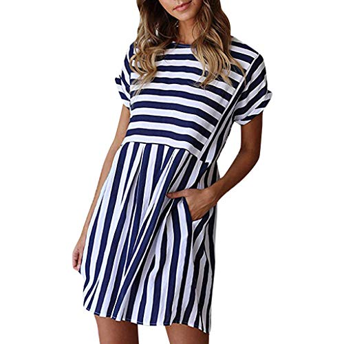 (Tantisy ♣↭♣ Women's Striped Short Sleeve Print Pencil Dress Summer Fashion Ladies Casual Dress with Pockets Blue)
