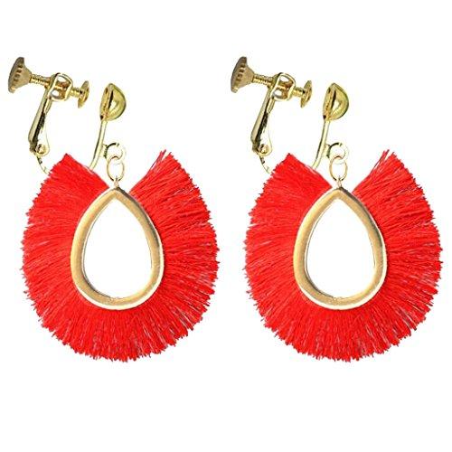 Bohemian Oval Teardrop Rose Silk Fringe Clip on Earrings Gold Plated Prom Bar for Girls Women Wear Gift