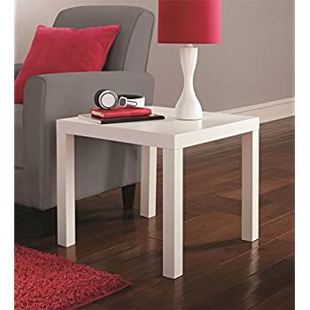 DHP Parsons Modern End Table, Multi-use and Toolless Assembly, White