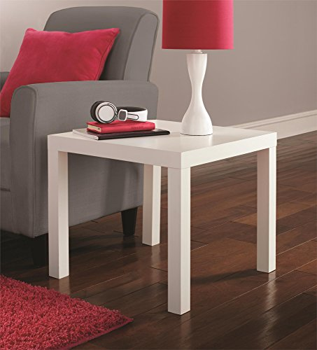 DHP Parsons Modern End Table, Multi-use and Toolless Assembly, White -