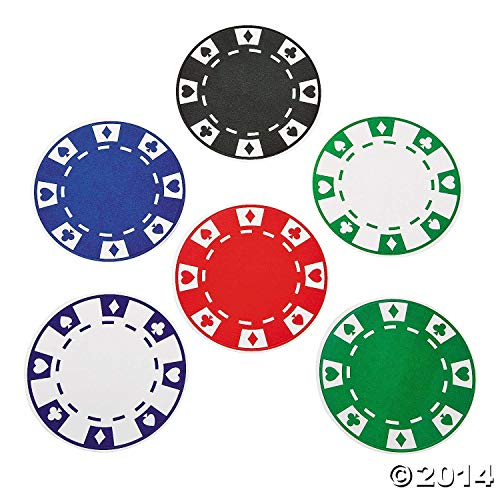 12 Casino Party Bar Drink Beverage Paper Poker Chip Coasters ()
