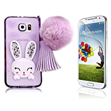 Galaxy S6 Case, Samsung Galaxy S6 Case, Bonice Cartoon Rabbit Bling Diamond Crystal Soft Transparent TPU 3D Cute Ear Stand Silicone Case with Hairball Pompon Wristlet + HD Screen Protector, Purple