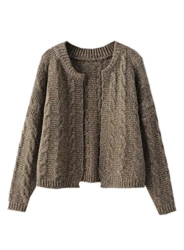 Futurino Damen Winter/Herbst Offener Langarm Warme Knitwear Cardigan Mantel Pullover one size coffee
