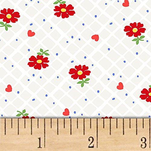 Windham Fabrics Sugar Sack Floral Check Pearl Grey Fabric by The Yard
