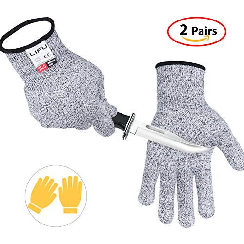 Cut Resistant Gloves, LIFU Kitchen Working Gloves for Oyster, Cutting, Slicing with Breathable and Extra Comfortable Lightweight(XL)