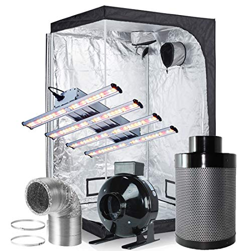 BloomGrow Hydroponic 48 X48 X80 High Reflective Mylar Grow Tent 1200W LED Real Full Spectrum Professional LED Grow 6 Inline Fan Air Carbon Filter Ventilation Kit Indoor Grow Tent Complete Kit