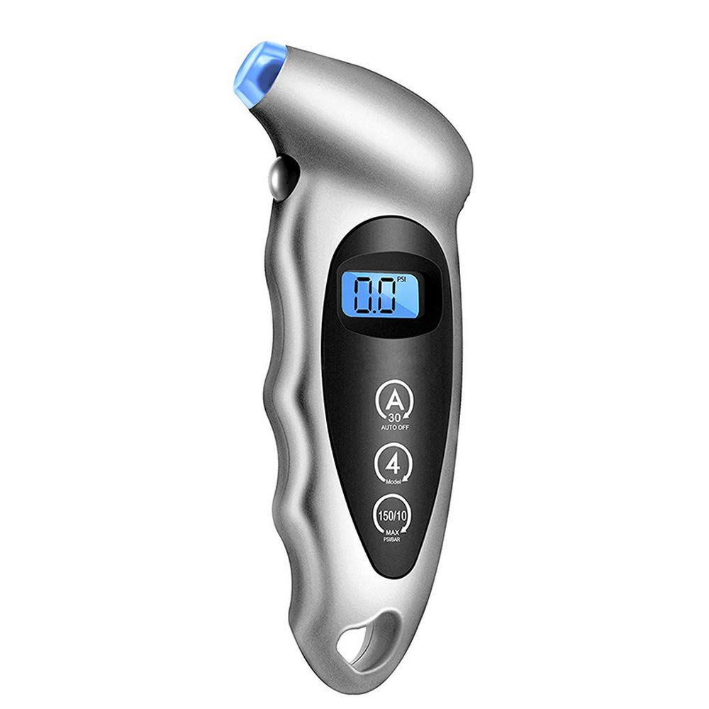 Digital Tire Pressure Gauge 150 PSI 4 Settings With Backlit LCD and Non-Slip Grip, Best for Car, Motorcycle, Bicycle Silver JIDIMI