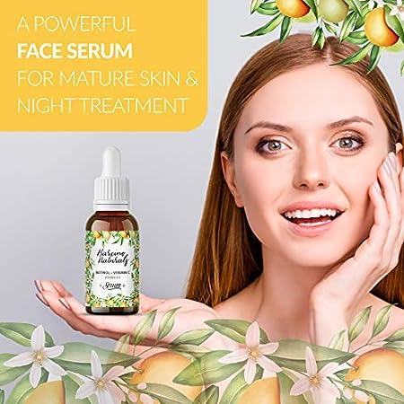 Serum Facial Retinol Vitamina C Puro Hidratante Antiedad Natural Antiarrugas Antimanchas Piel Cara Contorno de Ojos Antibolsas Antifatiga Ojeras Cuello Escote Mujer Hombre Dia Noche Vegano 30ml