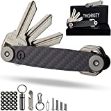 Compact Key Organizer Carbon Fiber- Smart EDC Pocket Keys Holder- Keychain Up to 24 Keys- Free Multitool Bottle Opener, Carabiner, Etc.- Stainless Steel Locking Mechanism- Lightweight & Durable