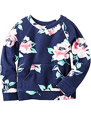 Girl Long Sleeve Floral French Terry Pullover w/Kangaroo Pocket 3M