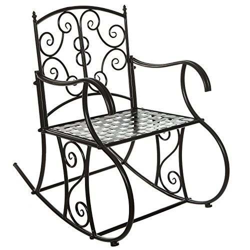 Black Metal Scrollwork Design Decorative Outdoor Patio / Garden / Deck Rocking Chair (Black Outdoor Rocking Chair compare prices)