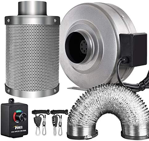 iPower GLFANXINL4FILT4MD8CTR 4 Inch 190 CFM Inline Fan Carbon Filter 8 Feet Ducting Combo with Variable Speed Controller and Rope Hanger for Grow Tent Ventilation, 4 Fan Filter, Grey