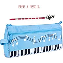 WOGOD Music Pen Bag Big Capacity Pen Bag Oxford Cloth Pencil Case or Students Stationery bag (blue)