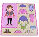 YChoice Educational Puzzle Kids Wooden Cloth Changing Puzzle Safe Education Learning Toy Fantastic Gifts Kids(Girl)