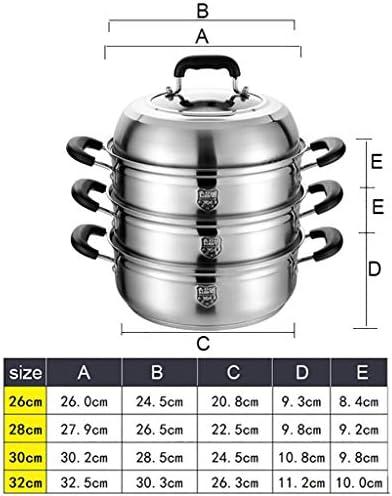 Marmite/vapeur à 3 couches, commercial/ménage 304 marmite en acier inoxydable, (26/28/30 / 32cm), for cuisinière à gaz/cuisinière à induction (Size : 30cm)