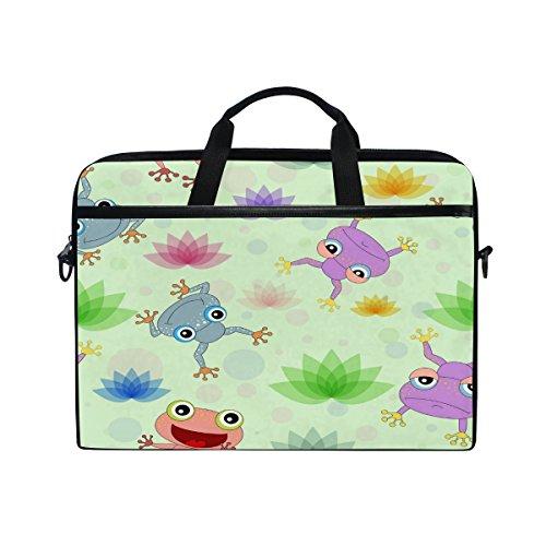 Laptop Computer Bag Colorful Frog Notebook Shoulder Messenger Cases Packs for Women Men (15-15.4 in)