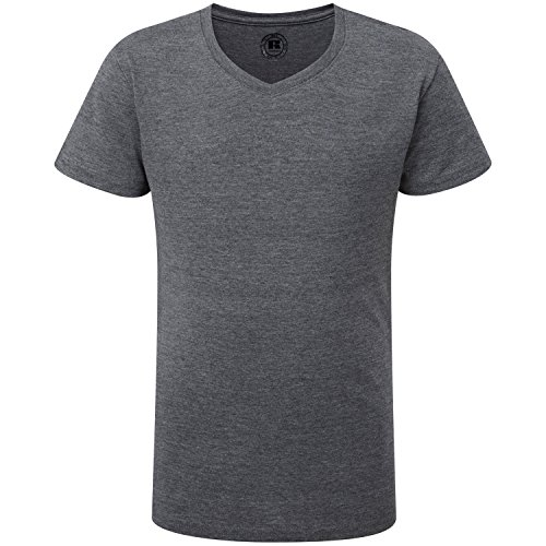 - Russell Girls V-Neck Short Sleeved T-Sh - Grey Marl - 11-12 Years/32-34 inches