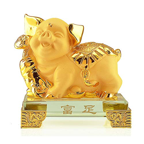 VanEnjoy Small Chinese Zodiac Pig Golden Resin Collectible Figurines Table Decor Statue