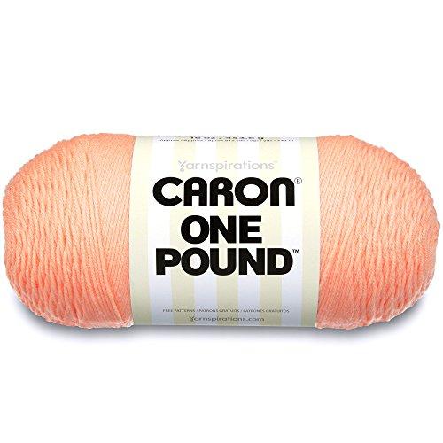Caron  One Pound Solids Yarn - (4) Medium Gauge 100% Acrylic - 16 oz -  Peach- For Crochet, Knitting & Crafting