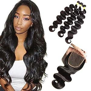 NEWNESS Brazilian Body Wave With Closure Virgin Hair Body Wave Long Length 10A Unprocessed Virgin Human Hair Bundles and…
