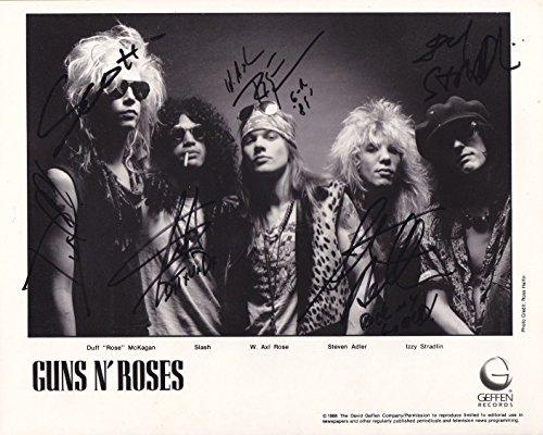 Guns N' Roses full rock band reprint signed promo photo RP Axl Rose Slash -