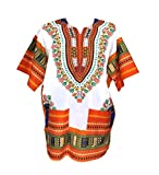 Vipada Handmade Men Dashiki Shirt African Caftan White and Orange New 5XL