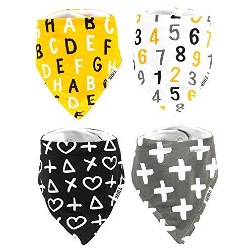 Stadela Baby Adjustable Bandana Drool Bibs for Drooling and Teething Nursery Burp Cloths 4 Pack Baby Shower Gift Set for Boys