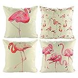 Best Cotton Pillow With Flamingos - Luxbon Set of 4Pcs Tropical Design Flamingo Series Review