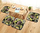 Printsonne Simple Modern Chair Cushions DJ Disco Headphe Dance Striped Background Reusable Water wash W27.5 x L27.5/4PCS Set