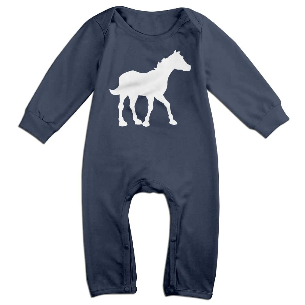 Mri-le1 Baby Girl Organic Coverall Horse White Kid Pajamas
