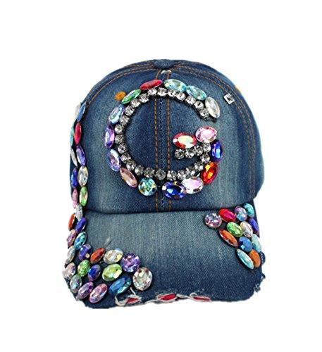 Denim Cap Headgear (micrkrowen Rhinestone Stitching Denim Hat Sunscreen Cap)