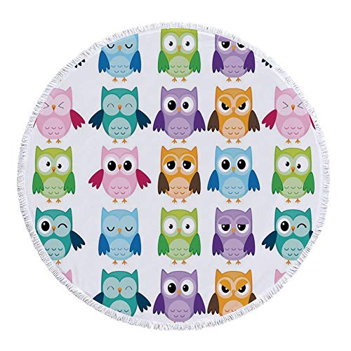 Thick Round Beach Towel Blanket,Nursery,Colorful Collection Friendly Owl Birds with Different Face Expressions Comic Cute,Multicolor,Multi-Purpose Beach Throw