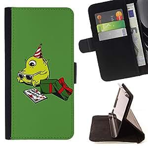 For Sony Xperia Z5 (5.2 Inch) / Xperia Z5 Dual (Not for Z5 Premium 5.5 Inch) Case , Verde de la Navidad Presente lindo cumpleaños- la tarjeta de Crédito Slots PU Funda de cuero Monedero caso cubierta de piel