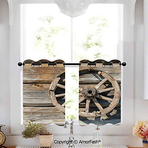 Barn Wood Wagon Wheel Half Window Curtain Classic Kitchen Curtains Checkered Design Curtains for Bathroom,W52 x L45-Inch,Old Log Wall with Cartwheel Telega Rural Countryside Themed Image Decorative (Wagon Classic Cartwheels)