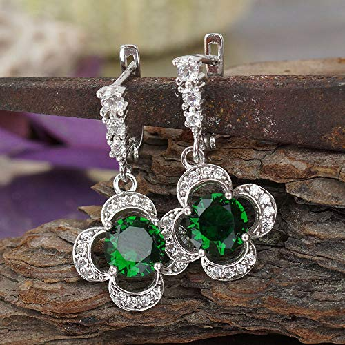 Turkish Sterling Silver Victorian Jewelry Diamond Cut Chrome Diopside Earrings