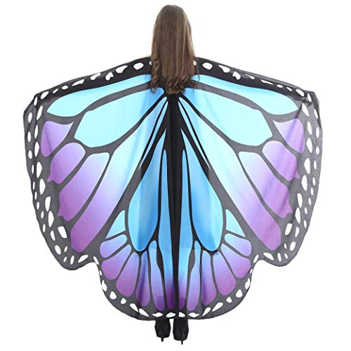 iDWZA Women Butterfly Wings Shawl Scarves Pixie Party Cosplay Costume Accessory(168135cm,Blue E) -
