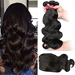 "HEBE Peruvian Hair 3 Bundles With Lace Closure Free part Peruvian Body Wave Human Hair Extensions with Closure Natural Black(16 18 20+14""Closure)"